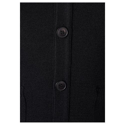 Gilet prêtre noir poches et boutons 50% acrylique 50% laine mérinos In Primis 3