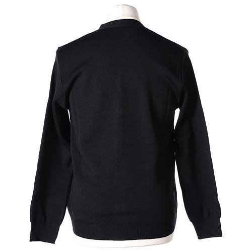 Gilet prêtre noir poches et boutons 50% acrylique 50% laine mérinos In Primis 6