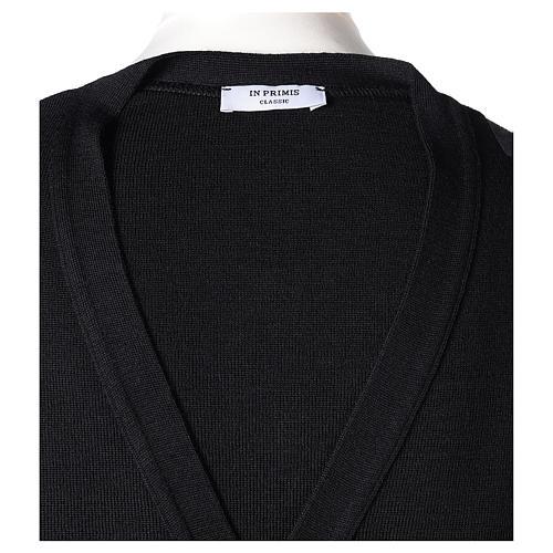 Gilet prêtre noir poches et boutons 50% acrylique 50% laine mérinos In Primis 7