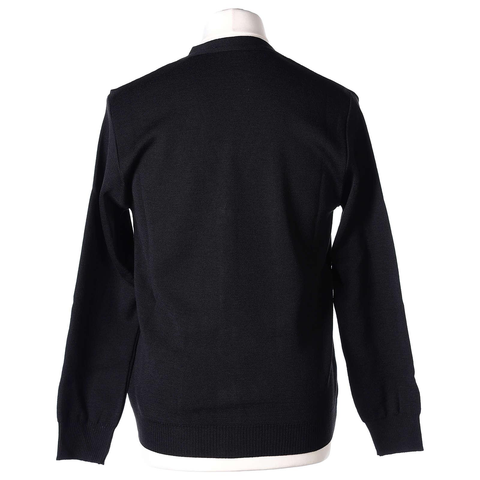 Giacca sacerdote nera tasche e bottoni 50% lana merino 50% acrilico In Primis 4