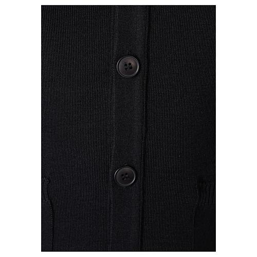 Giacca sacerdote nera tasche e bottoni 50% lana merino 50% acrilico In Primis 3