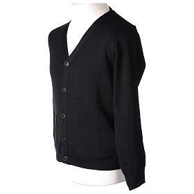 Sweter rozpinany na guziki dla księdza czarny kieszonki 50% wełna merynos 50% akryl In Primis s5