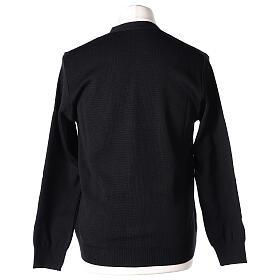 Sweter rozpinany na guziki dla księdza czarny kieszonki 50% wełna merynos 50% akryl In Primis s6