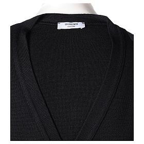 Sweter rozpinany na guziki dla księdza czarny kieszonki 50% wełna merynos 50% akryl In Primis s7