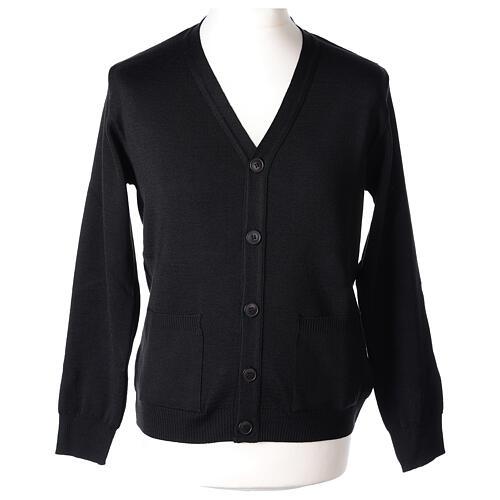 Sweter rozpinany na guziki dla księdza czarny kieszonki 50% wełna merynos 50% akryl In Primis 1