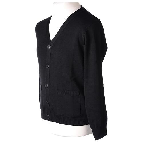 Sweter rozpinany na guziki dla księdza czarny kieszonki 50% wełna merynos 50% akryl In Primis 5