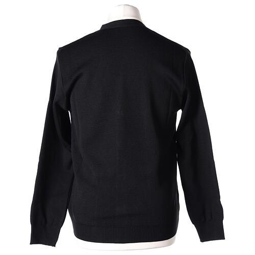 Sweter rozpinany na guziki dla księdza czarny kieszonki 50% wełna merynos 50% akryl In Primis 6