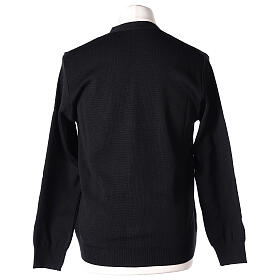 Casaco de malha sacerdote preto bolsos e botões 50% lã de merino 50% acrílico In Primis s6
