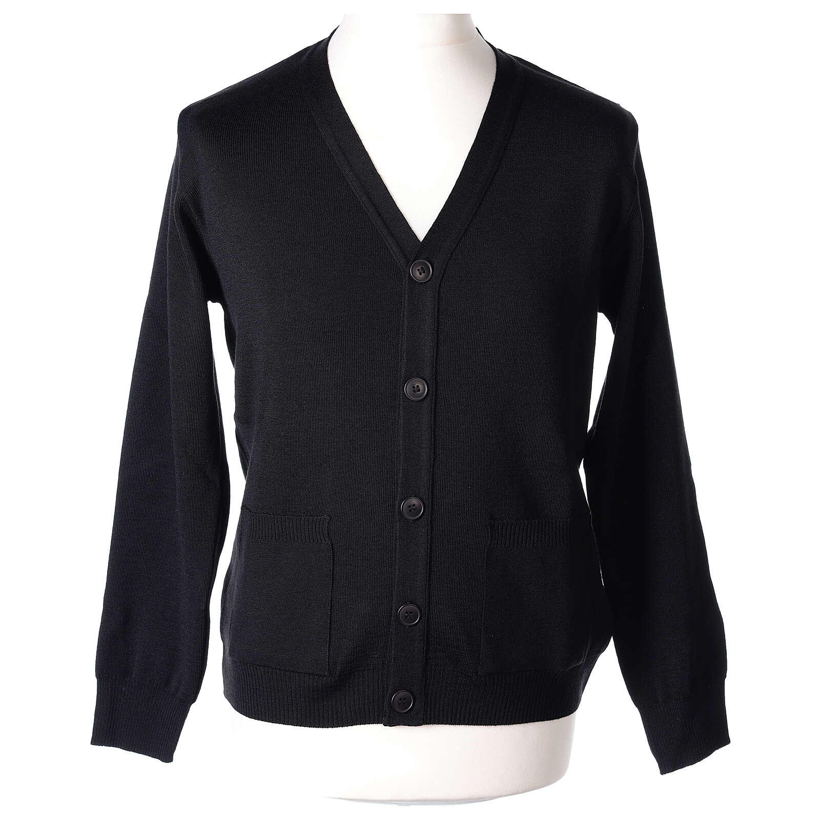 Black clergy cardigan buttons and pockets 50% merino wool 50% acrylic In Primis 4