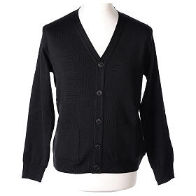 Black clergy cardigan buttons and pockets 50% merino wool 50% acrylic In Primis s1