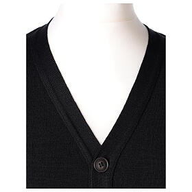 Black clergy cardigan buttons and pockets 50% merino wool 50% acrylic In Primis s2