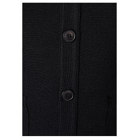 Black clergy cardigan buttons and pockets 50% merino wool 50% acrylic In Primis s3
