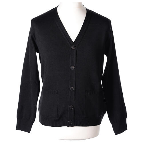 Black clergy cardigan buttons and pockets 50% merino wool 50% acrylic In Primis 1