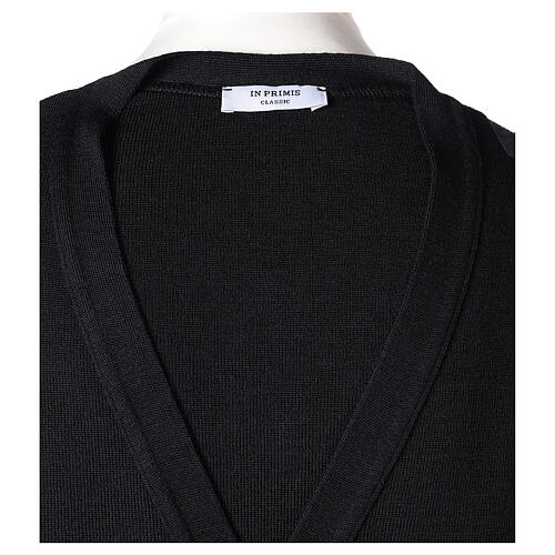 Black clergy cardigan buttons and pockets 50% merino wool 50% acrylic In Primis 7