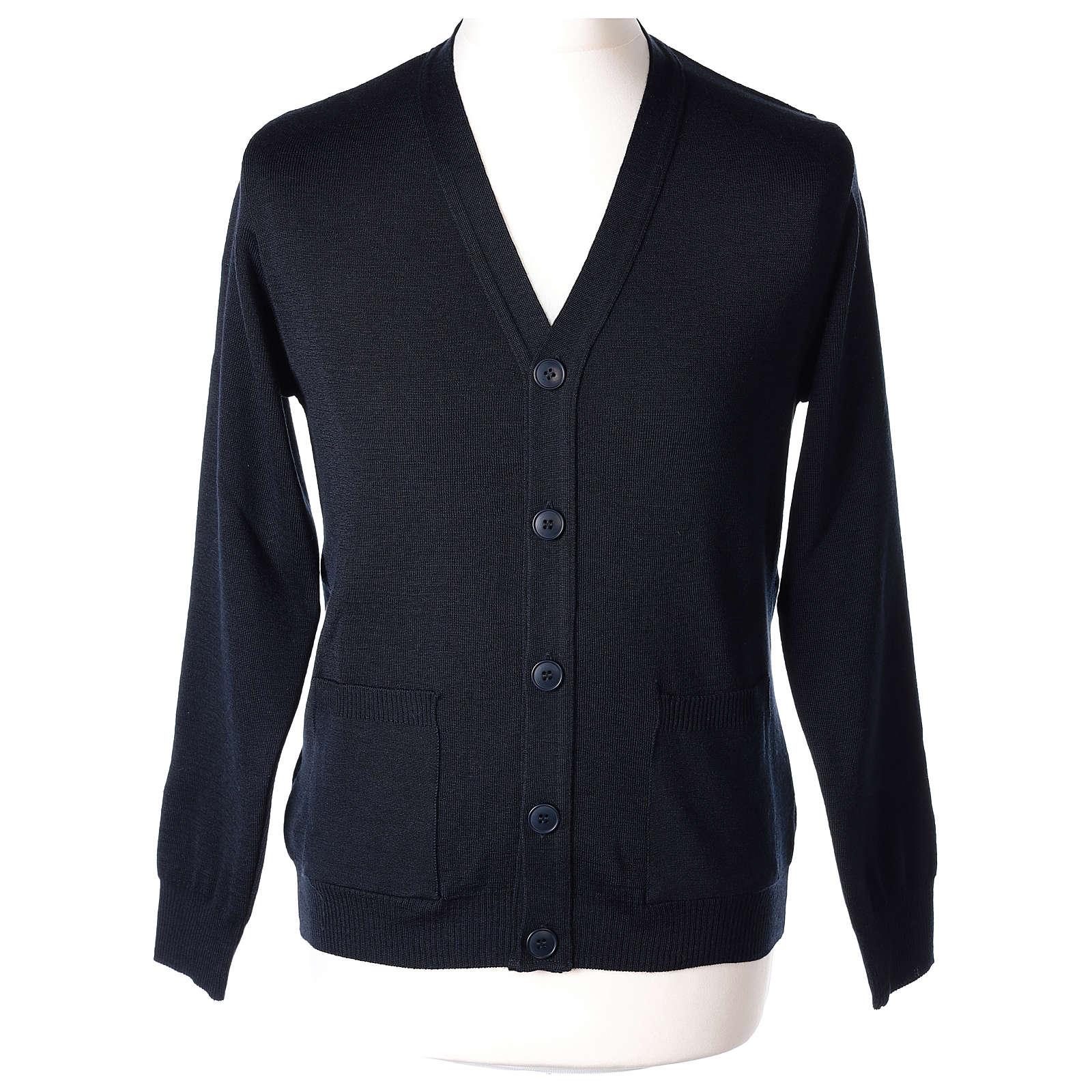 Gilet prêtre bleu poches et boutons tricot uni 50% acrylique 50% laine mérinos In Primis 4