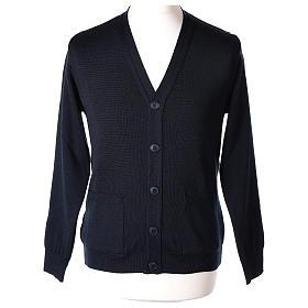 Gilet prêtre bleu poches et boutons tricot uni 50% acrylique 50% laine mérinos In Primis s1