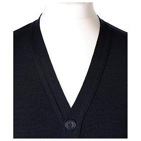 Gilet prêtre bleu poches et boutons tricot uni 50% acrylique 50% laine mérinos In Primis s2