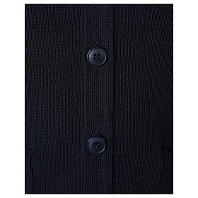 Gilet prêtre bleu poches et boutons tricot uni 50% acrylique 50% laine mérinos In Primis s4