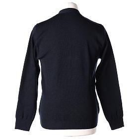 Gilet prêtre bleu poches et boutons tricot uni 50% acrylique 50% laine mérinos In Primis s6