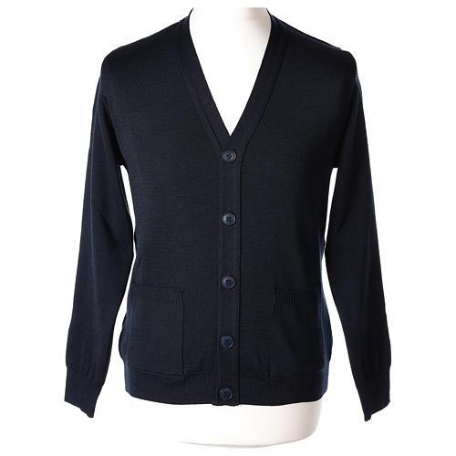 Gilet prêtre bleu poches et boutons tricot uni 50% acrylique 50% laine mérinos In Primis 1