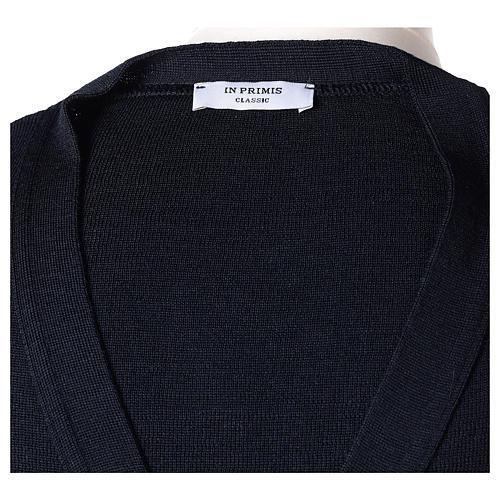 Gilet prêtre bleu poches et boutons tricot uni 50% acrylique 50% laine mérinos In Primis 7