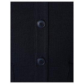Giacca sacerdote blu tasche e bottoni 50% lana merino 50% acrilico In Primis s4