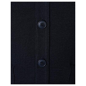 Sweter rozpinany na guziki dla księdza granatowy kieszonki 50% wełna merynos 50% akryl In Primis s4