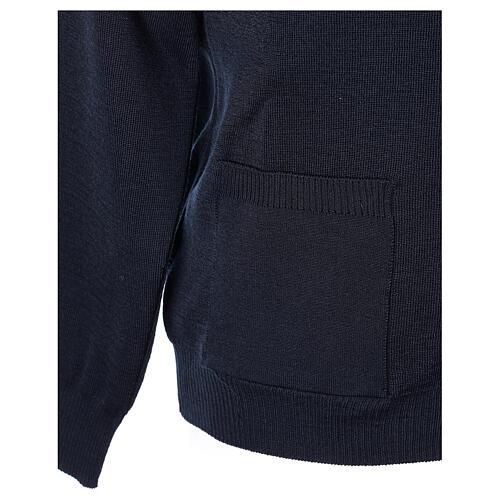 Sweter rozpinany na guziki dla księdza granatowy kieszonki 50% wełna merynos 50% akryl In Primis 5
