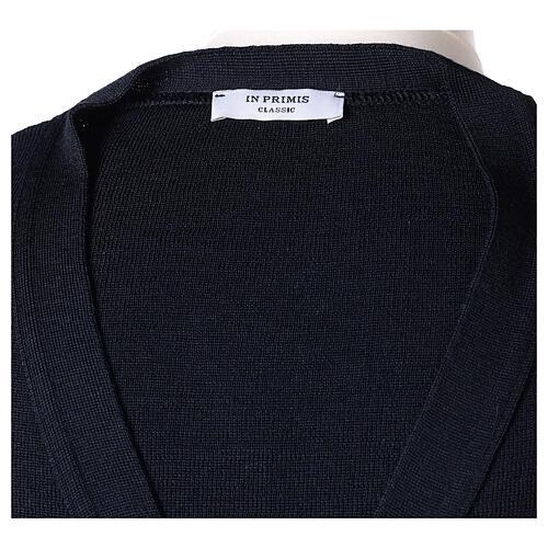 Sweter rozpinany na guziki dla księdza granatowy kieszonki 50% wełna merynos 50% akryl In Primis 7