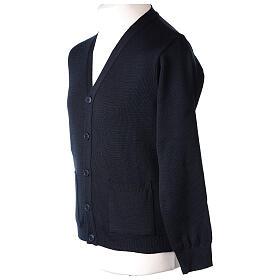 Casaco de malha sacerdote azul escuro bolsos e botões 50% lã de merino 50% acrílico In Primis s3