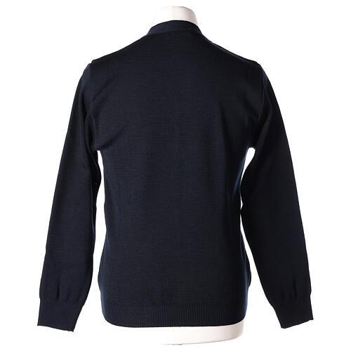 Casaco de malha sacerdote azul escuro bolsos e botões 50% lã de merino 50% acrílico In Primis 6