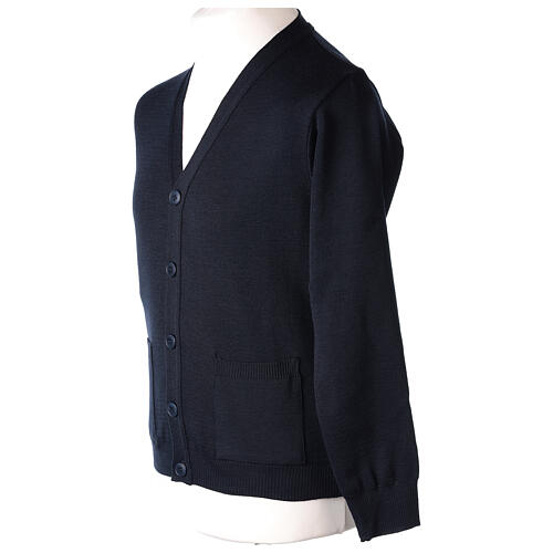 Blue clergy cardigan buttons and pockets 50% merino wool 50% acrylic In Primis 3