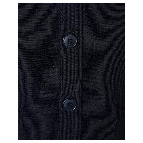 Blue clergy cardigan buttons and pockets 50% merino wool 50% acrylic In Primis 4