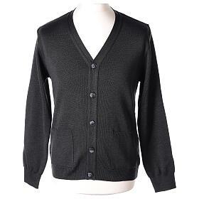 Chaqueta sacerdote antracita bolsillos y botones 50% lana merina 50% acrílico In Primis s1
