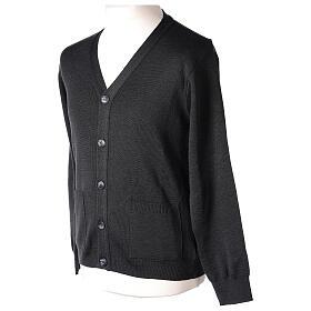 Chaqueta sacerdote antracita bolsillos y botones 50% lana merina 50% acrílico In Primis s3