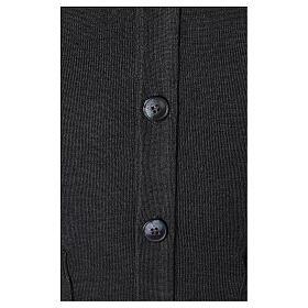 Chaqueta sacerdote antracita bolsillos y botones 50% lana merina 50% acrílico In Primis s4