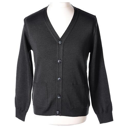 Chaqueta sacerdote antracita bolsillos y botones 50% lana merina 50% acrílico In Primis 1