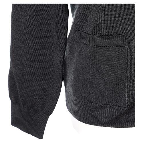 Chaqueta sacerdote antracita bolsillos y botones 50% lana merina 50% acrílico In Primis 5