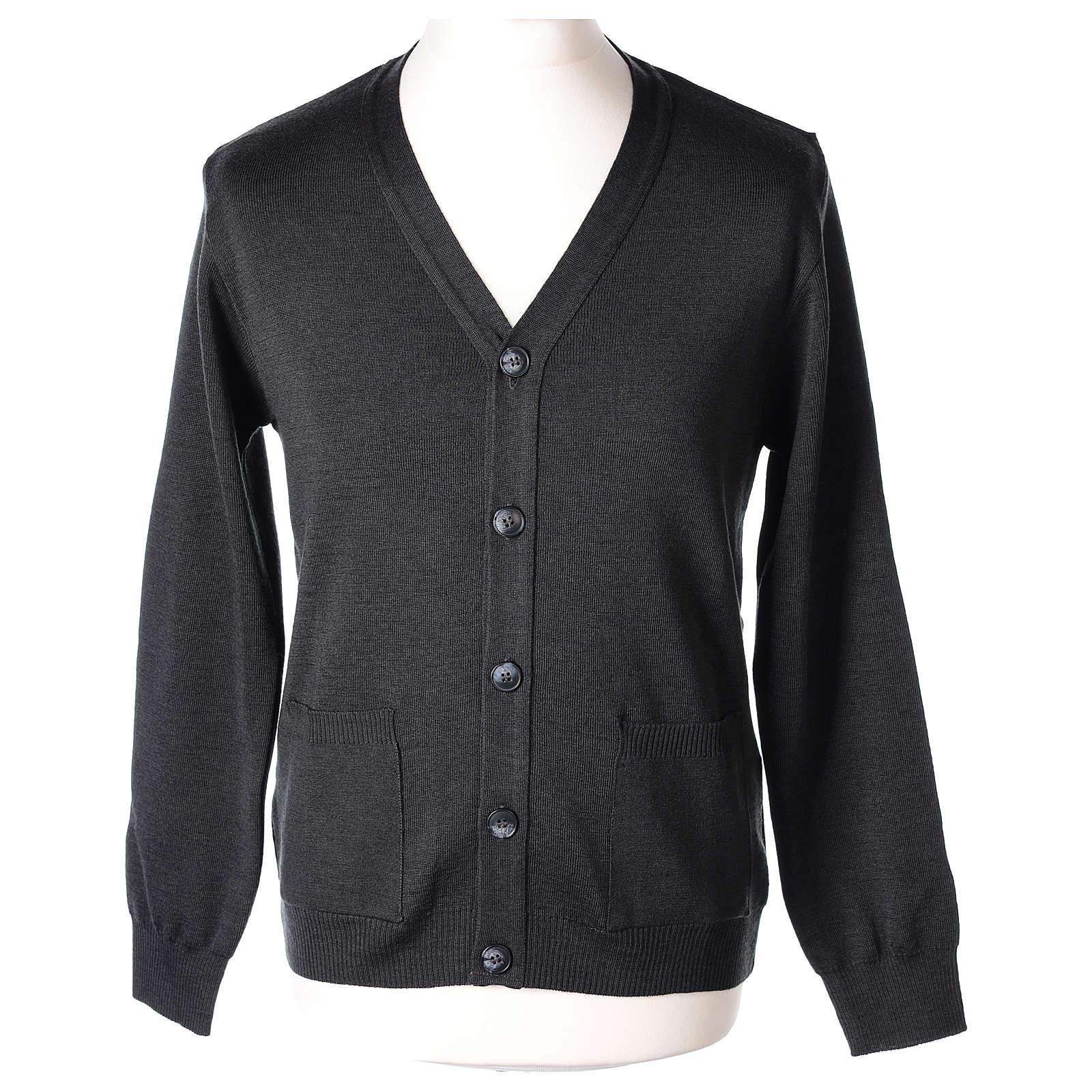 Gilet manches longues prêtre anthracite poches et boutons 50% laine mérinos 50% acrylique In Primis 4