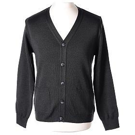 Gilet manches longues prêtre anthracite poches et boutons 50% laine mérinos 50% acrylique In Primis s1
