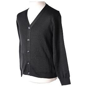 Gilet manches longues prêtre anthracite poches et boutons 50% laine mérinos 50% acrylique In Primis s3