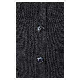 Gilet manches longues prêtre anthracite poches et boutons 50% laine mérinos 50% acrylique In Primis s4