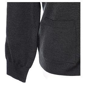 Gilet manches longues prêtre anthracite poches et boutons 50% laine mérinos 50% acrylique In Primis s5