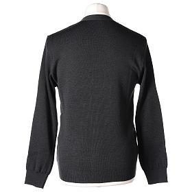 Gilet manches longues prêtre anthracite poches et boutons 50% laine mérinos 50% acrylique In Primis s7