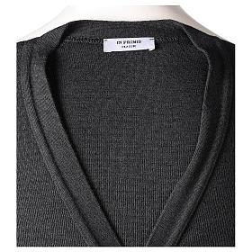 Gilet manches longues prêtre anthracite poches et boutons 50% laine mérinos 50% acrylique In Primis s8