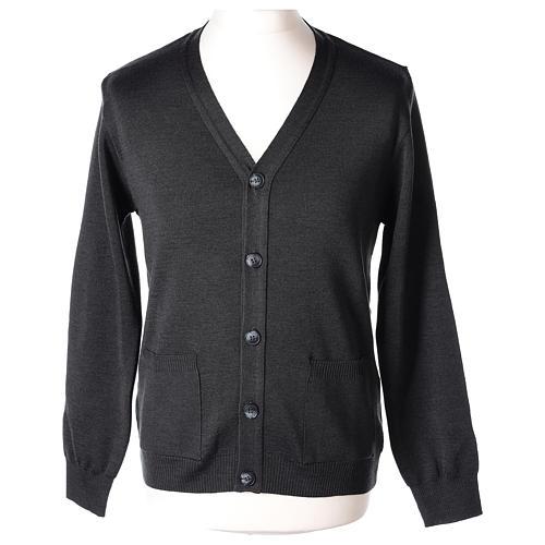 Gilet manches longues prêtre anthracite poches et boutons 50% laine mérinos 50% acrylique In Primis 1