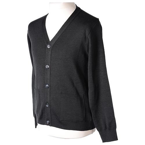 Gilet manches longues prêtre anthracite poches et boutons 50% laine mérinos 50% acrylique In Primis 3