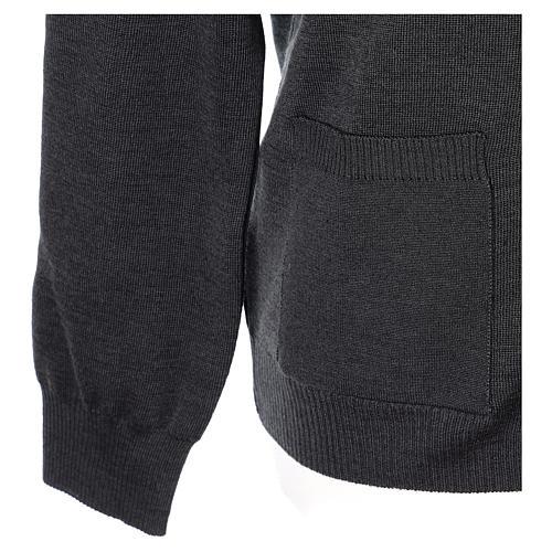 Gilet manches longues prêtre anthracite poches et boutons 50% laine mérinos 50% acrylique In Primis 5