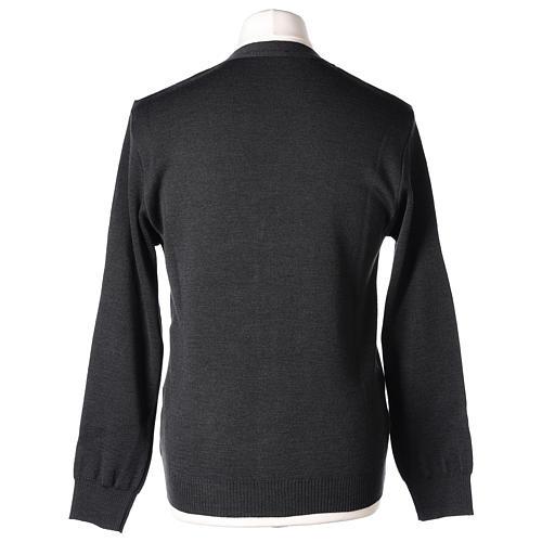 Gilet manches longues prêtre anthracite poches et boutons 50% laine mérinos 50% acrylique In Primis 7