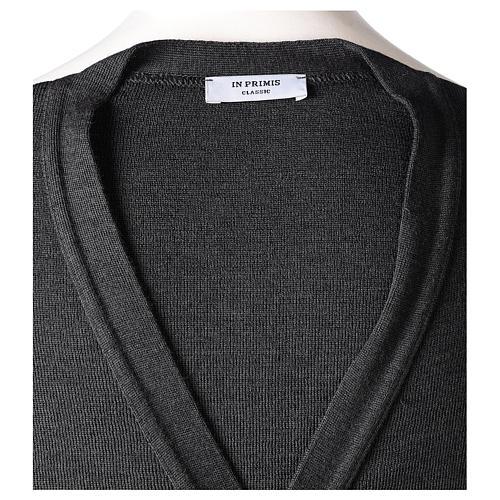 Gilet manches longues prêtre anthracite poches et boutons 50% laine mérinos 50% acrylique In Primis 8